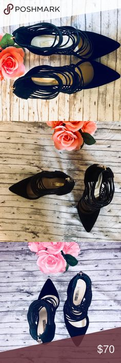 """BCBGeneration CALIKO Pointed Toe Pumps BCBGeneration CALIKO Pointed Toe Pumps - Colors: Black Velvet, Black Elastic Straps, Tan Soles - Size: 7 - 4.5"""" Heel - EXCELLENT CONDITION- Only Worn Once!! Only sign of wear is slightly scuffed outside bottom sole (pictured) BCBGeneration Shoes Heels"""