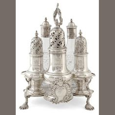 Georgian silver five-piece cruet set.