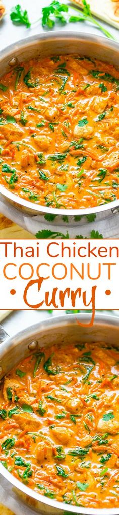 Thai Chicken Coconut Curry – An EASY one-skillet curry that's ready in 20 minutes and is layered with so many fabulous flavors!! Low-cal, low-carb, and HEALTHY but tastes like comfort food!!