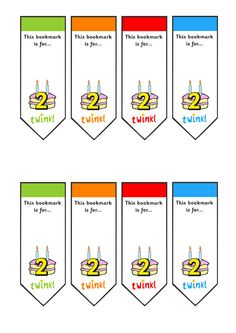 Twinkl Resources >> Editable Birthday Bookmarks Age 2  >> Classroom printables for Pre-School, Kindergarten, Elementary School and beyond! Boomarks, Birthdays, Reading, Literacy