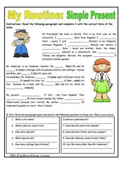 My Routine. Simple Present Tense - English ESL Worksheets for distance learning and physical classrooms English Grammar Worksheets, English Verbs, English Fun, English Lessons, English Vocabulary, Learn English, Reading Worksheets, French Lessons, Spanish Lessons