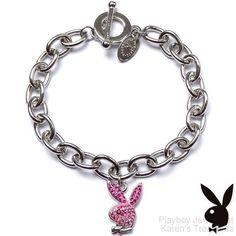 Playboy Bracelet Pink Enamel Bunny Logo Charm Swarovski Crystals Toggle Licensed #Playboy #Traditional