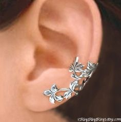 C-141, Spring Leaf branch ear cuffs, Sterling Silver earrings, clip earcuff jewelry, Left, Right, Pair