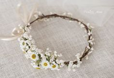 Adorable bohemian flower crown perfect to wear at festivals, prom, weddings, for your bridesmaids, christenings, photo shoots and many moore. This piece is open in the back and fastens with double face satin ribbon for the perfect adjustable fit  * Great Bride,Bridesmaid and Flower Girl piece * Color/Flowers: white, ivory, yellow and green, * Made in Germany * Production time: about 10 business days. * Delivery time to Germany about 3 business days ( International buyers: Please read bel...