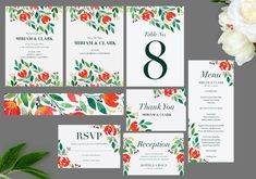 Botanical Leaves, Flowers Wedding Invitation Set, Printable Invitation, Wedding Templates, Printed Invitations | DIGITAL PRINTABLE Wedding Invitation Sets, Wedding Sets, Stationery Templates, Design Templates, Christmas Card Template, Watercolor Invitations, Reception Card, Wedding Templates, Printable Invitations