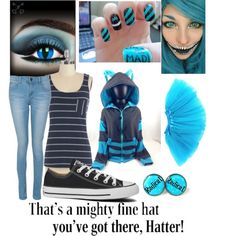 cheshire cat polyvore | fashion look from October 2014 featuring blue stripe shirt, kigurumi ...