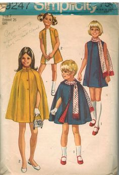 9247 Vintage Simplicity Sewing Pattern Girls Dress Cape Scarf 1970's School OOP #Simplicity