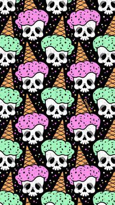 Skull Ice Cream Eye Scream Free Repeat Pattern Design Art Illustration Halloween Cute Spooky Surface Design by Casper Spell. Goth Wallpaper, Halloween Wallpaper Iphone, Holiday Wallpaper, Pattern Wallpaper, Wallpaper Backgrounds, Iphone Wallpaper, Halloween Backgrounds, Iphone Backgrounds, Living At Home