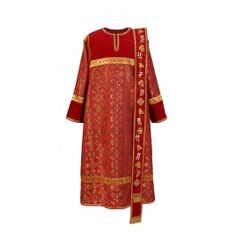 A deacon vestment made of velvet and brocade. The orarion is decorated with embroidery. We offer vestments made to measure according to your preferences with regard to color, fabrics, and embroidery Gold Embroidery, Casual Outfits, Kimono Top, Velvet, Sewing, Fabric, How To Wear, Clothes, Catalog