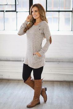 Long Lean Tunic Sweater And Leggings With Boots Love It Winter