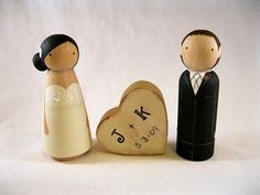 personalized, peg-doll wedding cake topper with heart+initials!