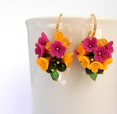 Colorful polymer clay earrings - Flower earrings - Spring by insoujewelry on Etsy