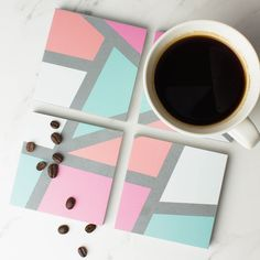 Geometric Concrete Coaster Set | Create Gift Love £25 Bring some fun to your coffee table, with these on-trend Geometric Print Coasters. http://www.creategiftlove.co.uk/collections/personalised-wood-coasters/products/geometric-concrete-coaster-set #geometric #coasters #creategiftlove