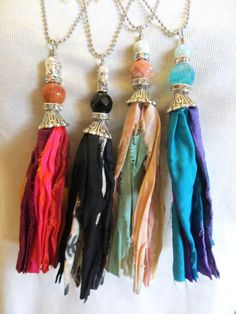Sari Silk Tassel Pendant Bohemian Necklace With by TuscanRoad