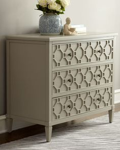 """My BIL's line of furniture--- <3   """"Landri"""" Three-Drawer Chest at Horchow."""
