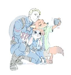 Nick, Judy and Captain America