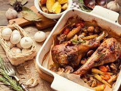 Krůtí stehno na víně Turkey, Treats, Food Ideas, Foods, Poultry, Apples, Herbes De Provence, Cooking Recipes, Thigh