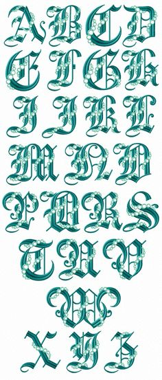 "ABC Designs Seafoam Gothic Font Machine Embroidery Designs 5""x7"" Hoop | Crafts, Needlecrafts & Yarn, Embroidery & Cross Stitch | eBay!"