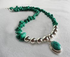 Turquoise and Sterling Silver Necklace by SperkyDesigns on Etsy