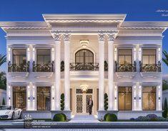 Al Hammam Villas Complex on Behance House Arch Design, House Outside Design, Village House Design, Home Building Design, Bungalow House Design, Classic House Exterior, Classic House Design, Modern Exterior House Designs, Dream House Exterior