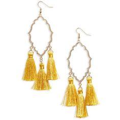 Women's Bp. Medallion Tassel Earrings ($13) ❤ liked on Polyvore featuring jewelry, earrings, mustard, tassel jewelry, bp jewelry, tassel earrings, medallion jewelry and cut out earrings