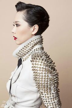 White is the new black. Rebellious, cool, and slightly punk - white leather with gold spikes is the new black leather jacket. Punk Fashion, Love Fashion, High Fashion, Womens Fashion, Studs And Spikes, Rebel, Leder Outfits, Studded Jacket, Looks Street Style