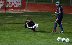 De Gea y Ochotorena, en un entrenamiento con la selección absoluta en Las Rozas en 2013 #seleccionespanola #LaRoja #diariodelaroja