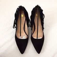 Black pointed toe fringe stiletto heels Brand: Chase & Chloe  Size:8 New (with box)   Pointed toe Faux suede  Fringe  Medium width  Heel height: 4.5in Platform : .25in No Trade Shoes Heels