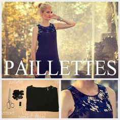 These paillettes look cool sewn onto a shirt. - - - DIY T Shirt with Paillettes