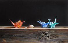 """Arrival"" - mixed media drawing by artist Elena Kolotusha Origami Bird, Origami Cranes, Paper Cranes, Still Life Drawing, Be Still, Mixed Media, Birds, Gallery, Drawings"