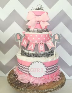 Baby Girl Diaper Cake in Pink and Gray, Elephant Baby Shower Centerpiece in Chevron by AllDiaperCakes on Etsy https://www.etsy.com/listing/465966020/baby-girl-diaper-cake-in-pink-and-gray