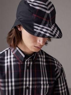 b430d983cb2 A check and cotton gabardine duckbill cap designed in collaboration with  milliner Stephen Jones for the
