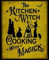 Primitive Kitchen Witch Cooking with magick witches sign Signs halloween decorations witchcraft black cats crows pumpkins folk art custom  by SleepyHollowPrims, $27.00 USD