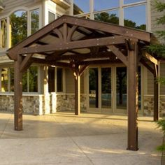 The Lodge Pergola brings mountain living right to your own backyard! Quality pergola construction evokes the stately lodges from a bygone era. Diy Pergola, Wood Pergola Kits, Building A Pergola, Pergola Canopy, Metal Pergola, Deck With Pergola, Cheap Pergola, Outdoor Pergola, Wooden Pergola