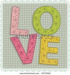 Lace Love letters - stock vector