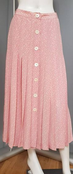 ea507ef60168 XS S 80s VALENTINO BOUTIQUE pink silk floral skirt, vintage valentino,  button down skirt, pleated skirt, faux mother of pearl buttons