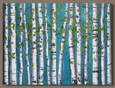 large birch tree painting large abstract painting birch