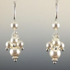 Swarovski Crystal & Sterling Silver Short Cluster Earrings