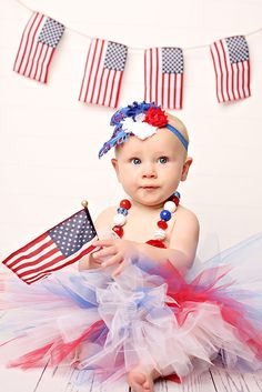 child portrait flag united states america girl baby 9 months nine tutu 4th of July Fourth banner feather headband necklace USA holiday   https://www.facebook.com/anneschillingsphotography http://www.thehairbowcompany.com
