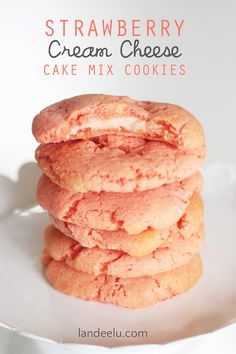 Easy strawberry cake mix cookies recipe with a surprise cream cheese filling... YUM!