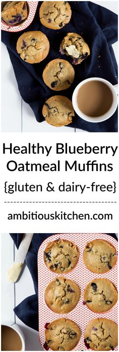 Healthy blueberry oatmeal muffins that you can feel good about eating! Made with a mix of almond and oat flour. Dairy free, gluten free and packed with nutritious ingredients!  from ambitiouskitchen.com