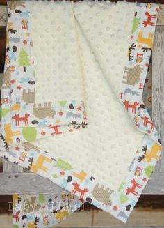Baby Boy Minky Blanket Forest Woodland Owls Moose by BabyWilde, $38.00