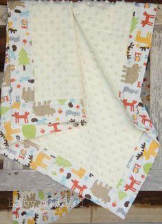 Baby Boy Minky Blanket Forest Woodland Owls Moose by BabyWilde, $38.00