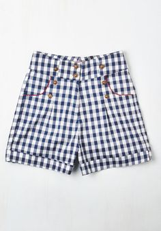 Do You Hear the People Swim? Shorts - Checkered / Gingham, Buttons, Pockets, Trim, Casual, Pinup, Americana, Spring, Summer, Woven, Better, High Rise, Short, White, Blue, Print, Short