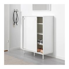 IKEA MACKAPÄR shoe cabinet/storage Ideal in smaller areas since the sliding doors save space. Shoe Storage Cabinet White, Ikea Shoe Storage, Ikea Storage Cabinets, Bathroom Storage, Locker Storage, Shoe Cabinets, Toy Storage, Ikea Storage Solutions, Rangement Art