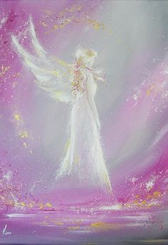 """Limited angel art poster """"Met in dream"""", modern contemporary angel painting, artwork, print, glossy photo Photo Ange, Angel Stories, Angel Drawing, Angel Guidance, I Believe In Angels, Angel Pictures, Angels In Heaven, Guardian Angels, Angel Art"""