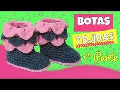 Botas tejidas a crochet con punto cocodrilo | varias tallas - YouTube