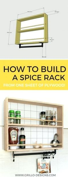 How to Build a Hanging Spice Rack ( and RYOBI giveaway!) is part of Spice Organization Hanging - DIY hanging spice rack tutorial I'm partnering with RYOBI EU today to bring you this awesome storage spice rack idea and giveaway! Hanging Spice Rack, Wall Spice Rack, Wooden Spice Rack, Diy Spice Rack, Diy Hanging, Spice Storage, Spice Rack Plans, Build A Spice Rack, Plywood Furniture