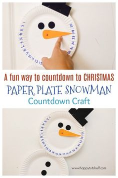Countdown Paper Plate Snowman Craft – A fun way to countdown to Christmas! Christmas Activities For Kids, Preschool Christmas, Craft Projects For Kids, Christmas Crafts For Kids, Craft Activities For Kids, Preschool Crafts, Holiday Crafts, Christmas Christmas, Kids Crafts
