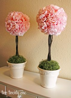 How to Make a Topiary {DIY} - Maybe I could make a tone of these for the table centre pieces, using either silk flowers/mint, or mod-podging fresh mint so it dries with its colour? Then make a mist with mint essential oil and spray them with it??
